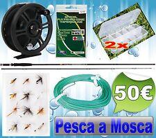 combo pesca a mosca canna mulinello mosche galleggianti PB0163