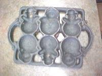 F1 Vintage Snowman Snowmen Cast iron cookware mold treats Christmas cooking