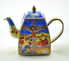 KELVIN CHEN Enamel Mini Copper Hand paint Teapot -  Jesus Christ Cross - Retired