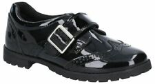 Hush Puppies Emily BLACK  Patent touch fastening Strap School Shoes