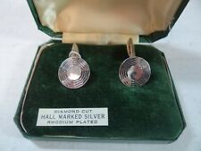 Diamond Cut Hall Marked Silver and Rhodium Plated Vintage 1960's Cufflinks