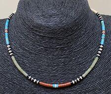 Santo Domingo Jet  Turquoise Serpentine Pipestone Shell Heishi Bead Necklace
