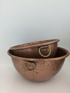 2 Vintage Solid Copper Round Bottom With Brass Ring Rolled Edge Mixing Bowl Set