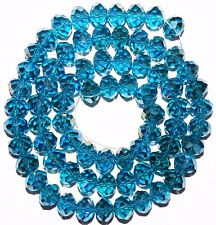 CR654L2 Dark Teal Blue AB 10mm Rondelle Faceted Cut Crystal Glass Beads 22""