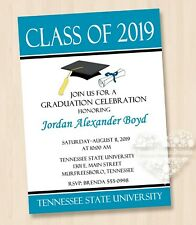 10 Class of 2019 Black White Dark Teal Blue ANY COLOR GRADUATION Invitations