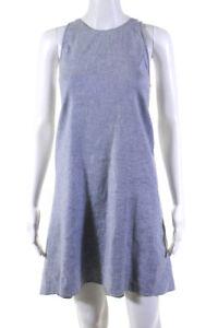 Theory Womens Sleeveless Crew Neck Mini Shift Dress Blue Linen Size 0
