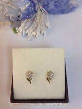 orecchini donna oro giallo bianco 18 kt 750% forma fiore con zirconi a lobo