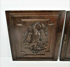 Pair Antique French hand Carved Oak Birds  Door Panels Reclaimed Architectural