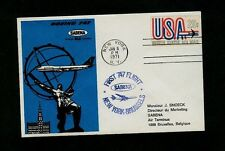 SABENA JAN 8 1971 First Flight New York to Brussels on Beautiful Cover