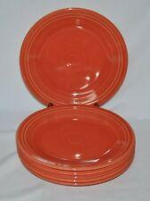 6 Fiesta Ware, Reddish Orange, Homer Laughlin.10.5 inch Dinner Plates