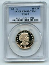 1981 S $1 Type 2 T2 SBA Susan B Anthony Dollar Proof PCGS PR69DCAM