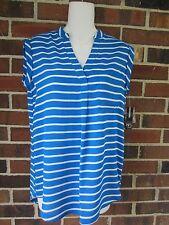 NWT Small Petite Blue White Striped Top Blouse Sleeveless Tunic High Low Hemline