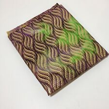 "1 & 7/8 Yards Green Purple Batik with Gold Metallic Fabric 45"" wide"