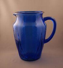 Vintage Hazel Atlas Glass Company Cobalt Royal Lace Pitcher 64 oz w/o Lip c.1935