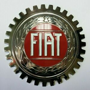 NEW Indoor/Outdoor Fiat Badge Emblem- Adhesive Backed- Chromed Brass