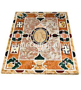 4'x3' Marble Dining Table Top Pietra Dura Mosaic Inlay Art Restaurant Decor B064