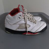 """Jordan Retro 5 """"Fire Red"""" Youth Little Kids Size 3Y Shoes White/Red Sneakers"""