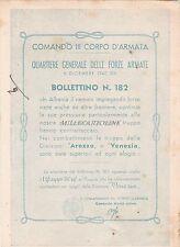 MILITARE - ARTIGLIERIA - Comando III Corpo d'Armata - Bollettino n.182 - WW2