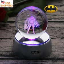 Batman 3D LED Crystal Ball Laser Night Light Table Desk Lamp Christmas Gift RGB