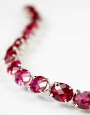 Created Ruby , 925 Sterling Silver Bracelet, SB002-Handmade