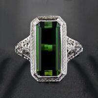 Mode Frauen natürliche grüne Kristall Ring Engagement Strass Ring Schmuck HQ