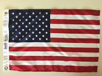 """United States U.S. Indoor Outdoor Dyed Nylon Boat Flag Grommets 16"""" X 24"""""""