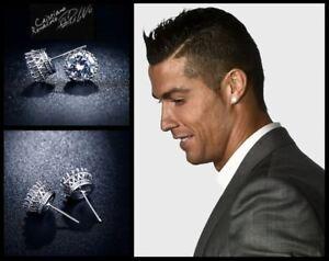 Men's/Boy's: RONALDO 18ct Platinum Cubic Zirconia 10mm Crown Crystal Earrings
