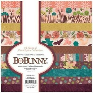 Floral Spice Flowers Trees Nature Brown Orange Green 6 x 6 BoBunny Paper Pad