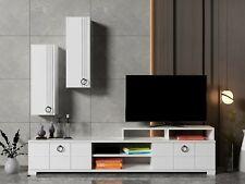 White Modern TV Unit SET & Wall Cabinet Wooden Storage - Line White