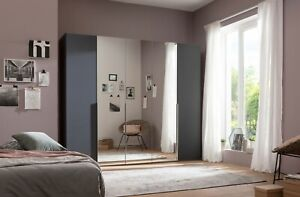 DESIGNER GERMAN WARDROBE BEDROOM MIRROR GRAPHITE GREY BLACK WHITE FITTED FREE