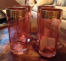 SC Line Italy Pink Gold Geometric Trim Highball Beverage Glasses Set 4 New!