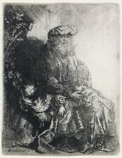 Framed Etching Rembrandt, Abraham Caressing Isaac,1637, Museum Quality, Biblical