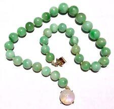 65g! Art Deco 14k gold Chinese no dye Jadeite Moonstone Necklace