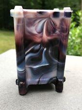 Antique Purple Slag Glass Arts Crafts Footed Vase Match Holder