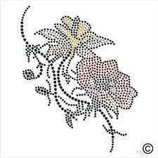FLOWER Rhinestone Iron-On Diamante Transfer Hotfix applique Motif Crystal Gems