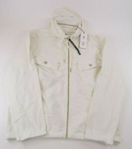 C.P. Company NWT Full Zip Open Hoodie Size L In Solid White Cotton W/ Pockets