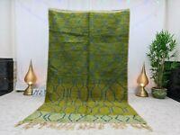 "Boujaad Handmade Moroccan Vintage Rug 5'4""x8'9"" Geometric Berber Green Wool Rug"