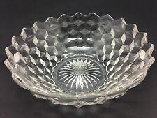 "Art Deco Large Cuboid Glass bowl with cube design & Geometric design 9"" diameter"