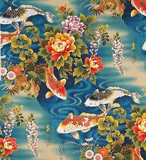 JAPANESE KONA BAY EMPEROR COLLECTION KOI FLORAL WISTERIA TEAL COTTON PNL FABRIC