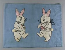 Vintage Baby Child's Pillowcase Cover - Embroidered Bunny Rabbits