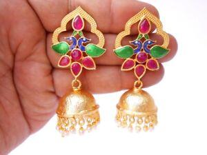 Matte Gold Handmade Meena Stone Festive Party TV Series Jhumki Jhumka Earring