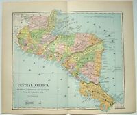 Original 1891 Map of the Central America by Hunt & Eaton