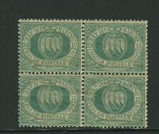 1892/4 San Marino stemmi 10 cent. verde blocco di 4 nuovo spl **