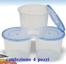 Set 4 Contenitori Multiuso Con Coperchio in Plastica Tondi 700ml Cucina moc