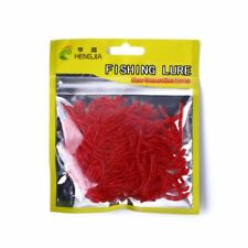 200 Thin Red Bait Worms - Plastic Fishing Fake Artificial Imitation Tackle Lure