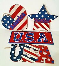 4th Of July Glittered Plaques - Set Of 4 - Memorial & Labor day