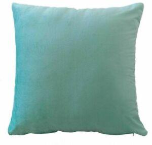 "Duck Egg Blue Plain Velvet Cushion Covers / Filled Cushions Luxury Plush 17""x17"""