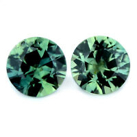Certified Natural Unheated Green Sapphire 1.17ct Brilliant Cut Matching Pair