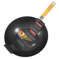 "28cm 11"" Black Typhoon Non-Stick Carbon Steel Wok Chinese Cooking Stir Fry Pan"