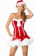 Ladies Mrs Santa Claus Mary Christmas Fancy Dress Costume + Hat - M Medium 10-12